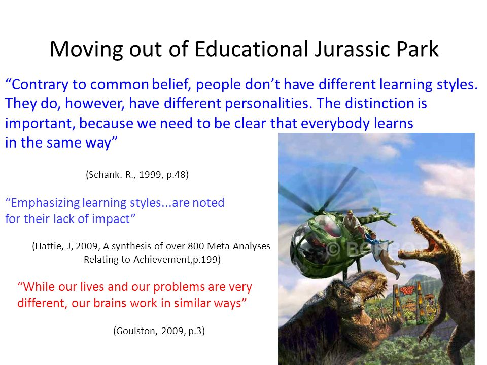 Moving out of Educational Jurassic Park