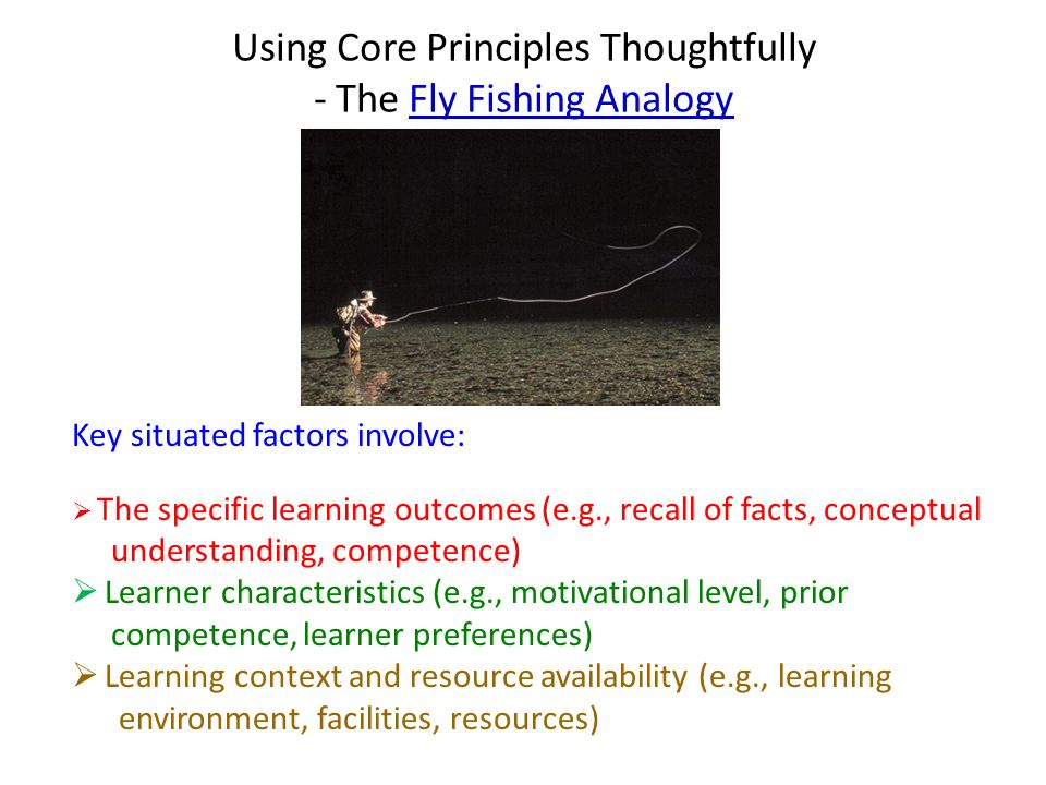 Using Core Principles Thoughtfully - The Fly Fishing Analogy