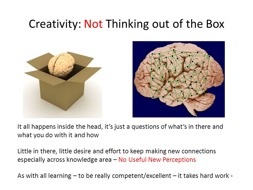 Creativity: Not Thinking out of the Box