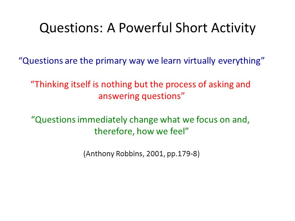 Questions: A Powerful Short Activity