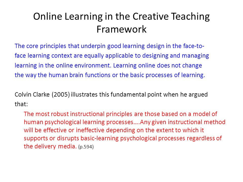 Online Learning in the Creative Teaching Framework