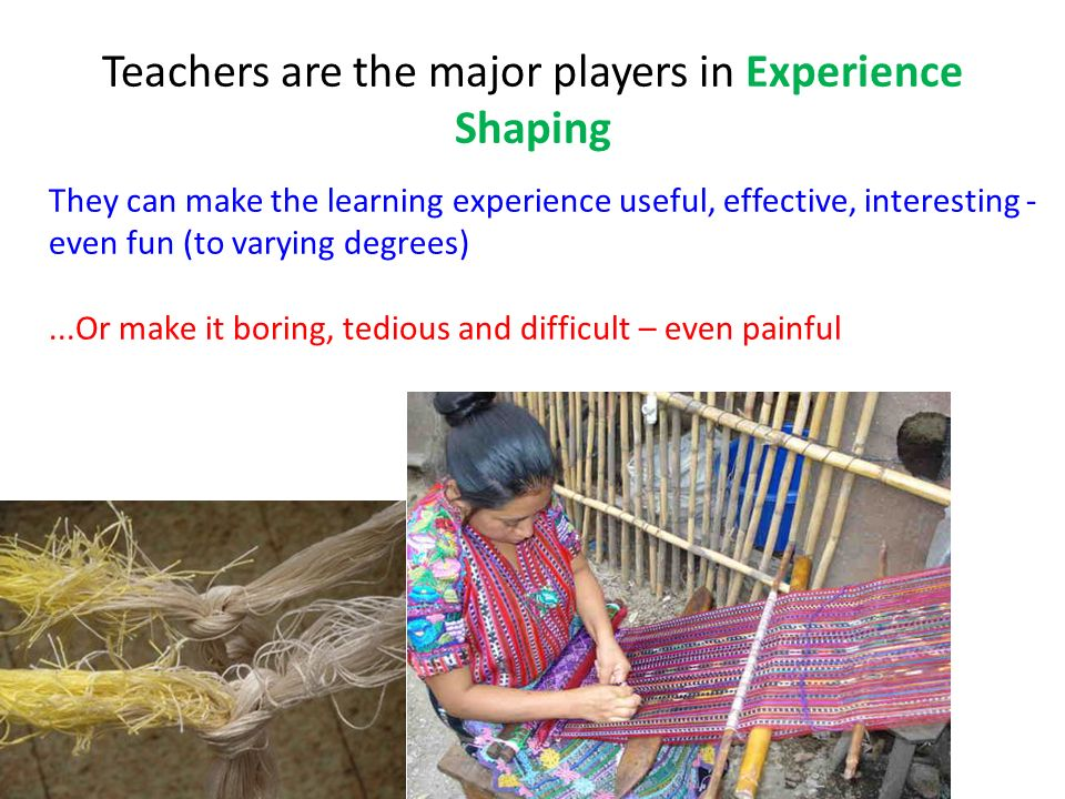 Teachers are the major players in Experience Shaping