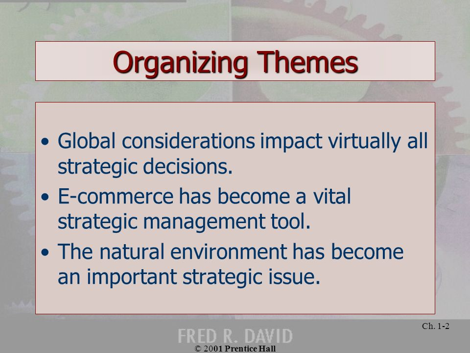 Organizing Themes Global considerations impact virtually all strategic decisions. E-commerce has become a vital strategic management tool.