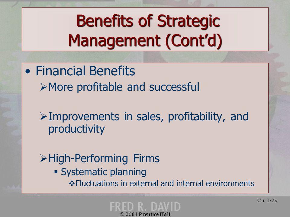 Benefits of Strategic Management (Cont'd)