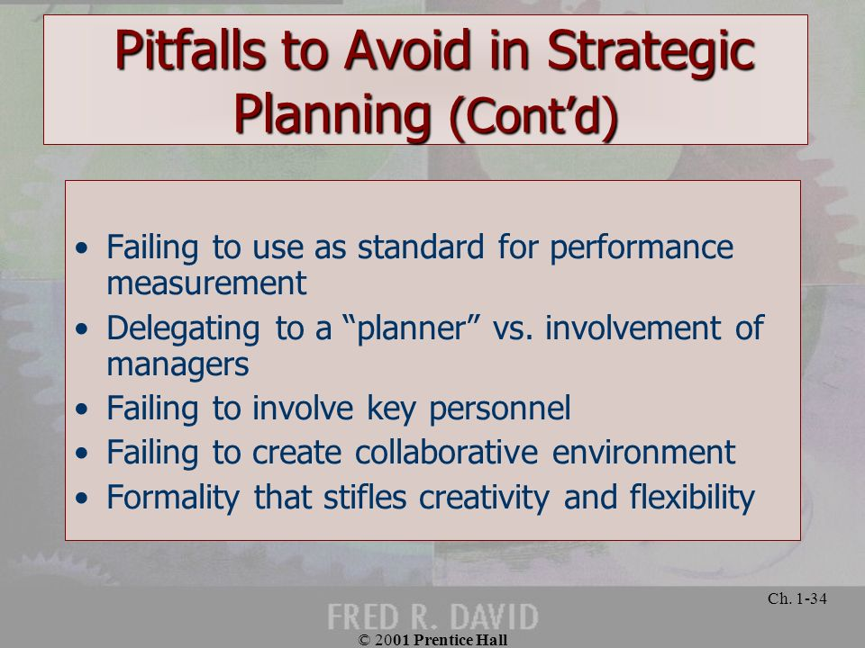 Pitfalls to Avoid in Strategic Planning (Cont'd)