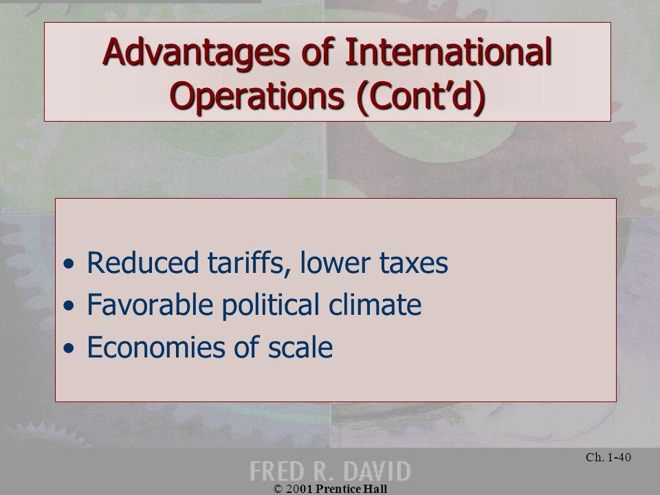 Advantages of International Operations (Cont'd)
