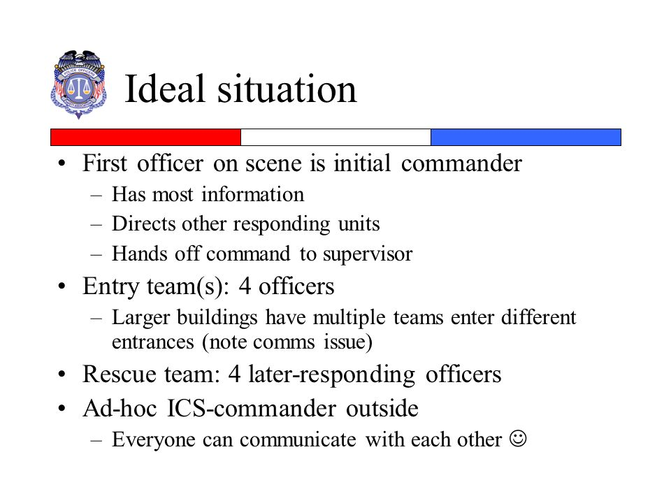 Ideal situation First officer on scene is initial commander