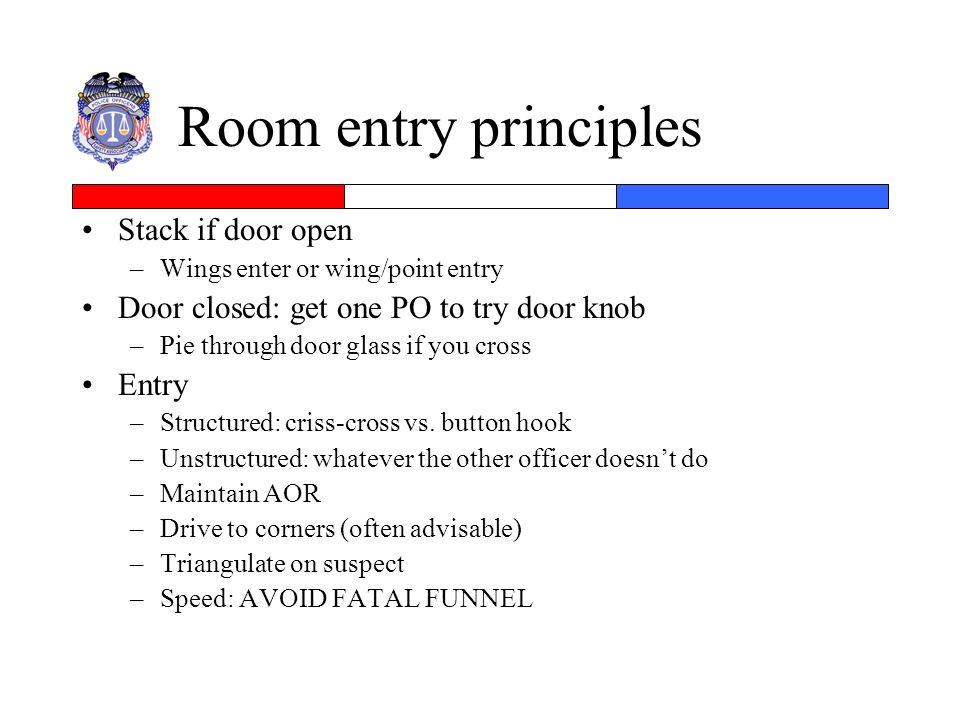 Room entry principles Stack if door open