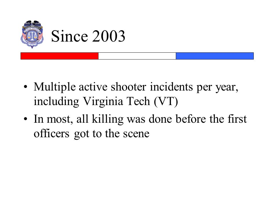 Since 2003 Multiple active shooter incidents per year, including Virginia Tech (VT)
