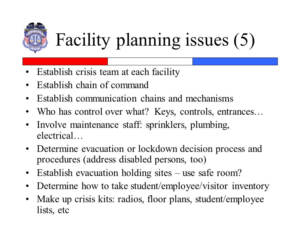 Facility planning issues (5)