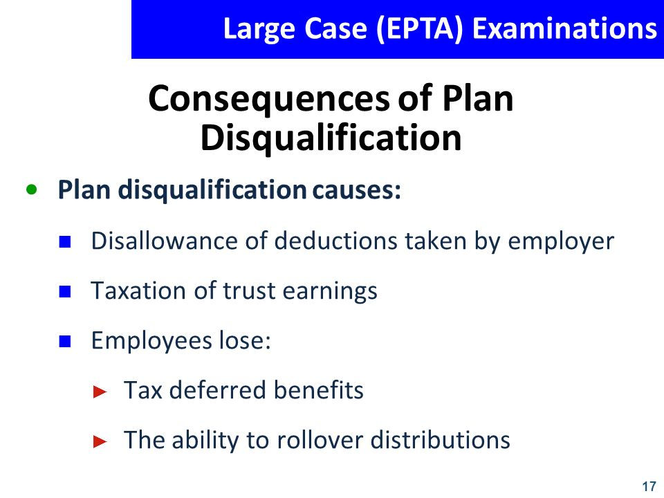 Consequences of Plan Disqualification