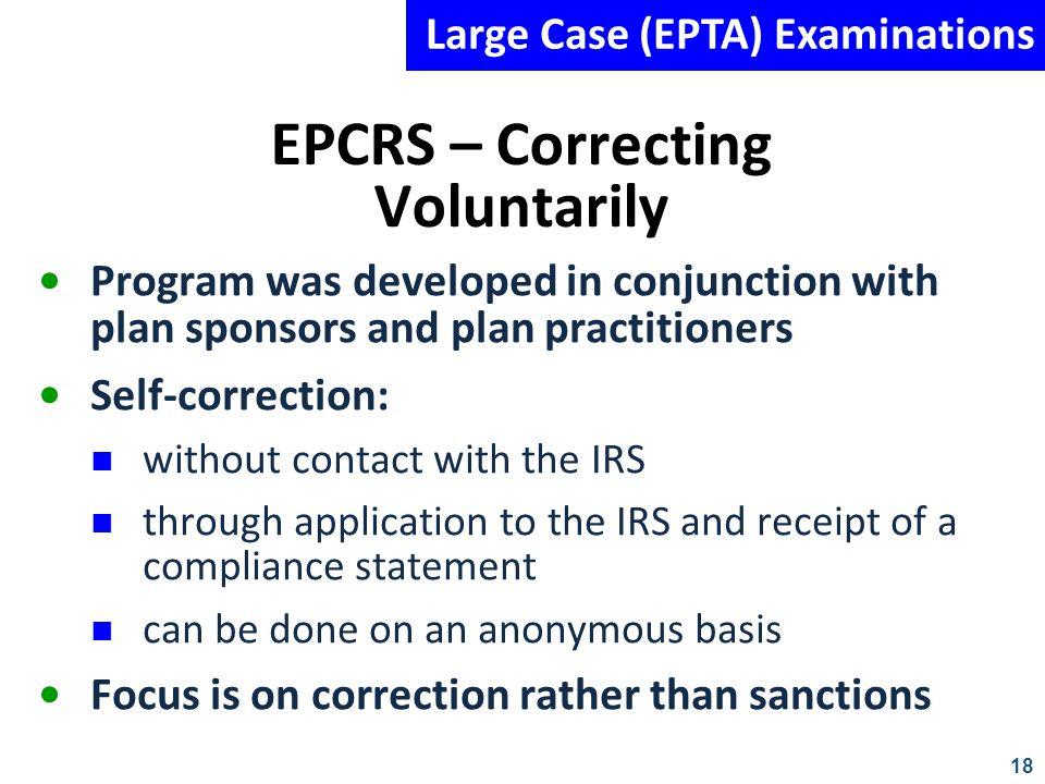 EPCRS – Correcting Voluntarily