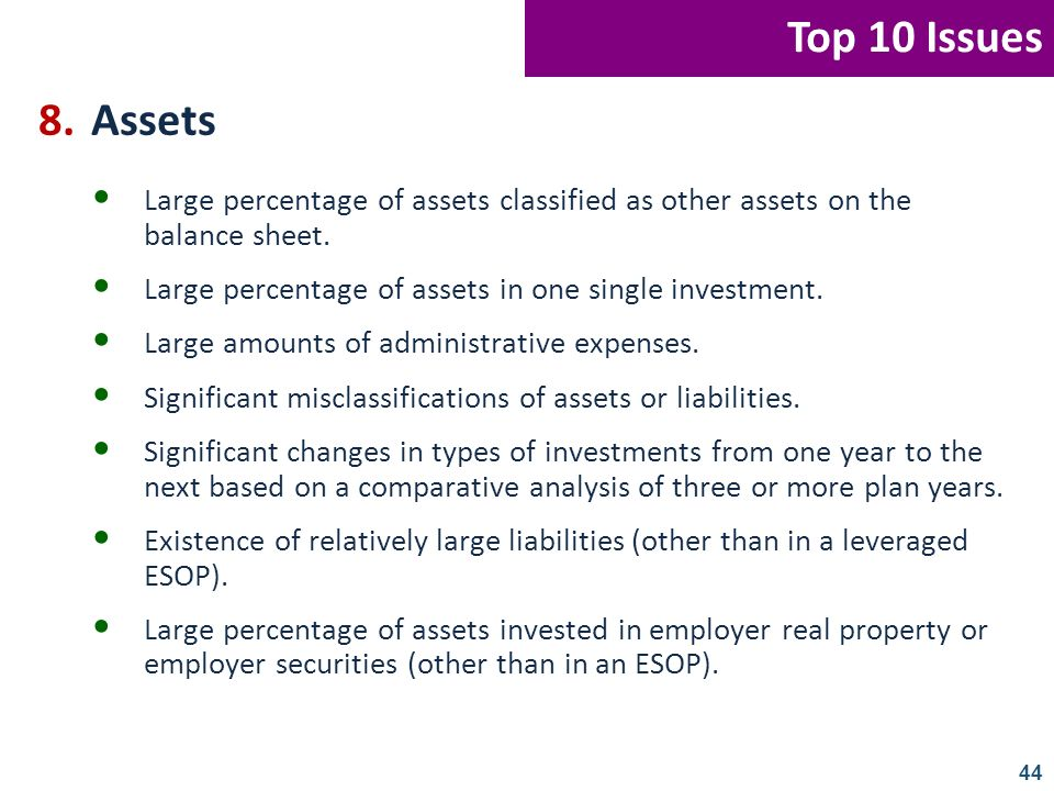 Top 10 Issues 8. Assets. Large percentage of assets classified as other assets on the balance sheet.