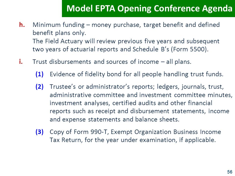 Model EPTA Opening Conference Agenda