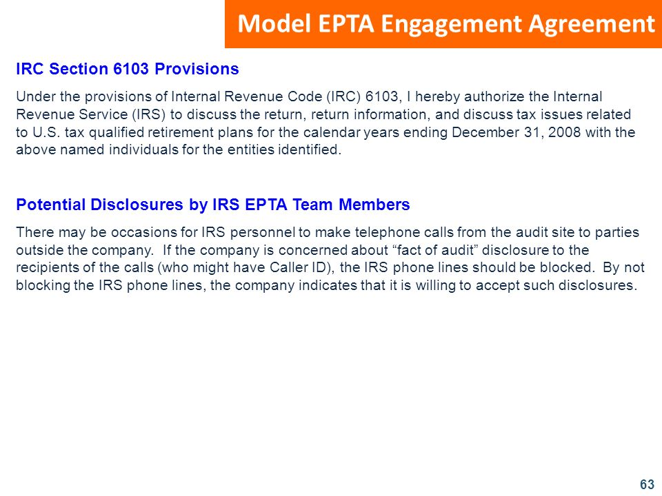 Model EPTA Engagement Agreement