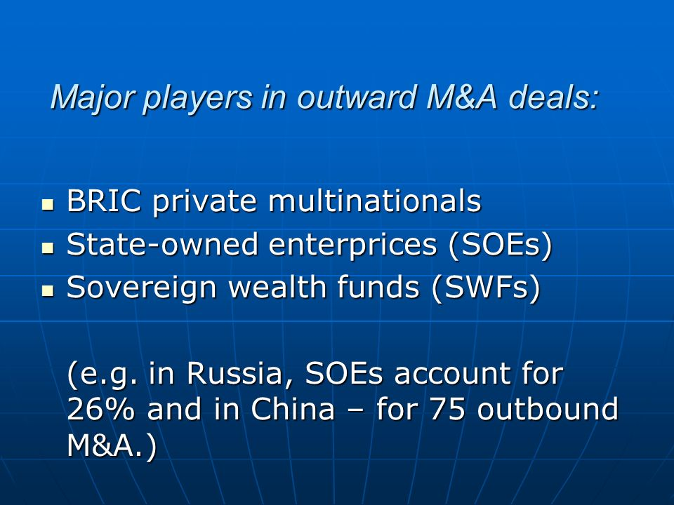 Major players in outward M&A deals: