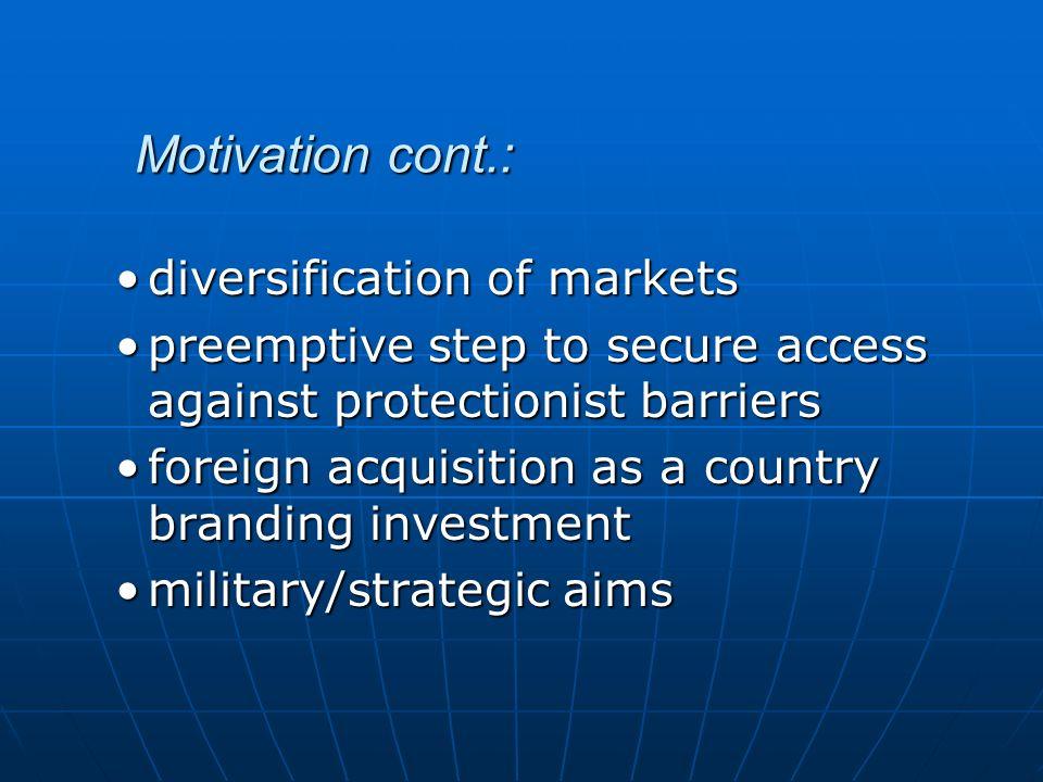 Motivation cont.: diversification of markets