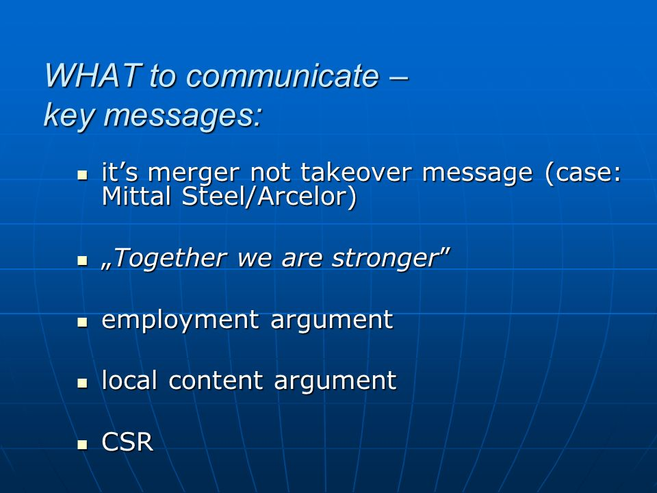 WHAT to communicate – key messages: