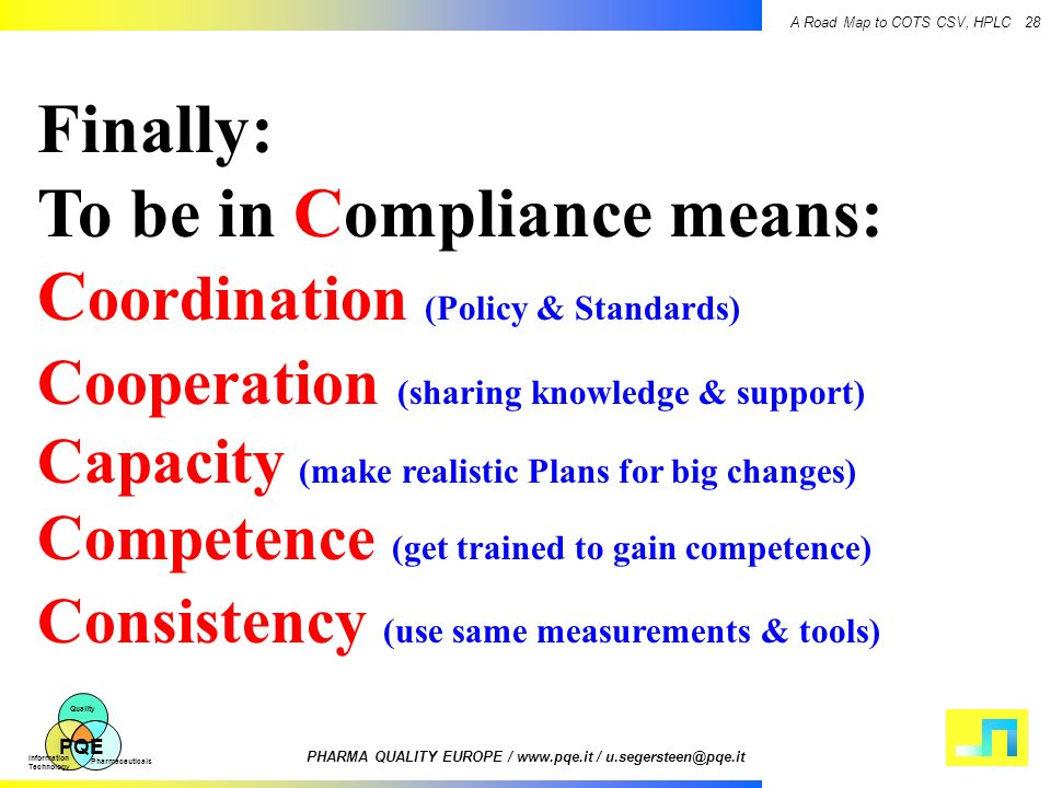Finally: To be in Compliance means: Coordination (Policy & Standards)