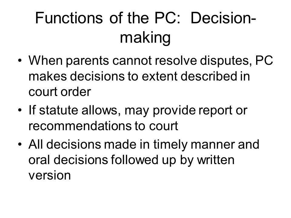 Functions of the PC: Decision-making