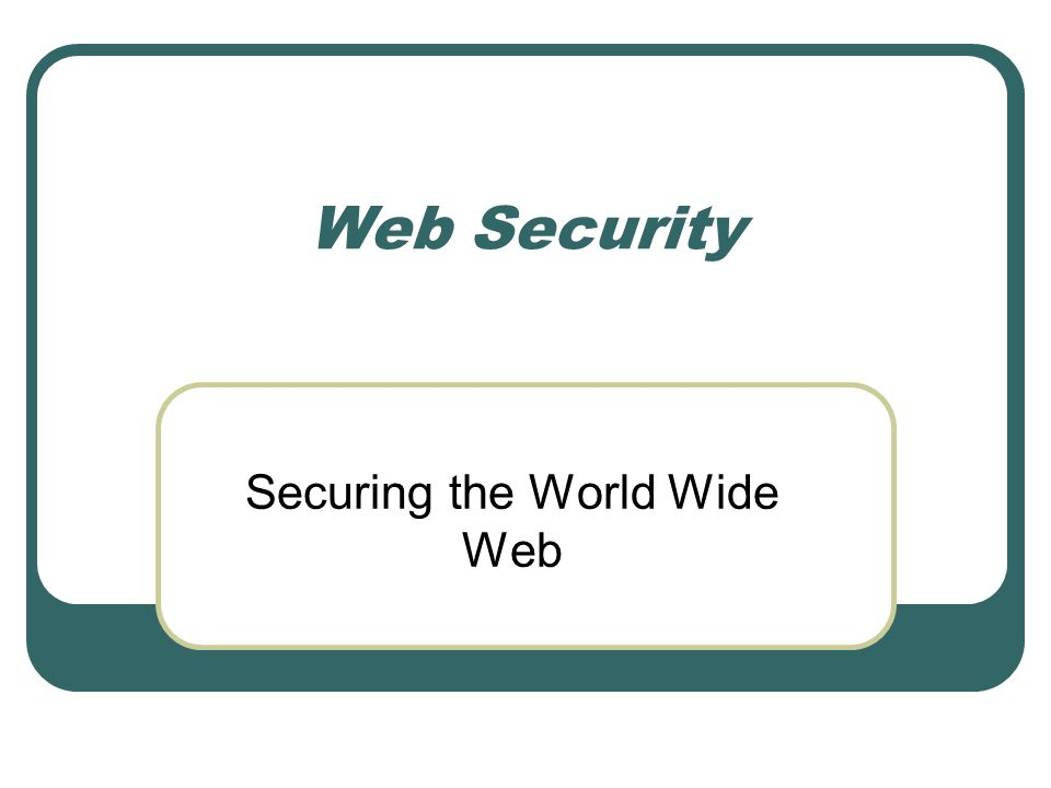 Securing the World Wide Web