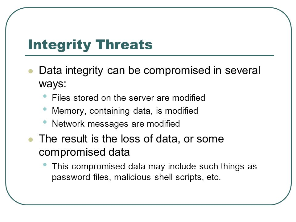 Integrity Threats Data integrity can be compromised in several ways: