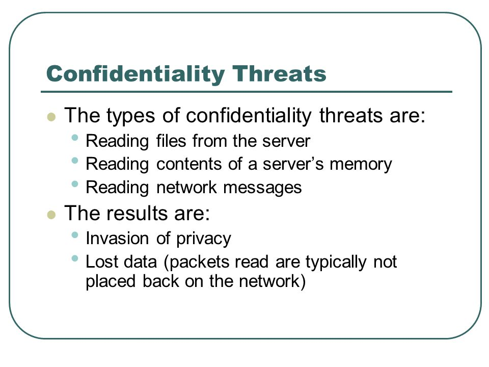 Confidentiality Threats