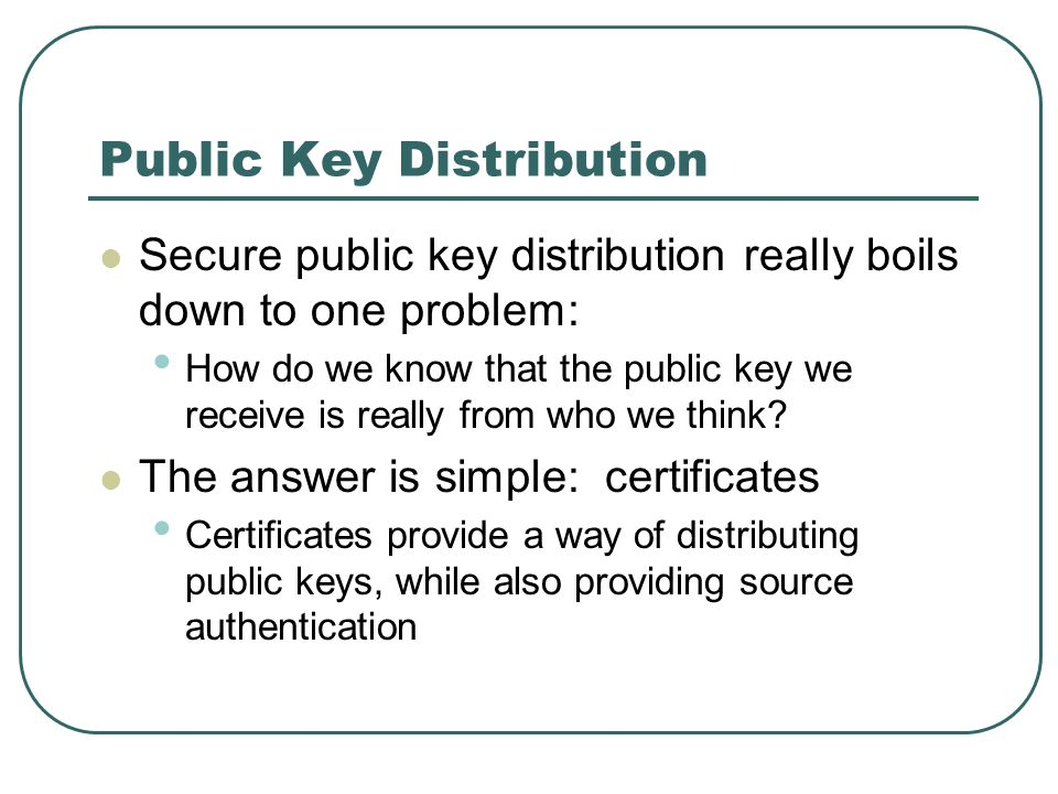 Public Key Distribution