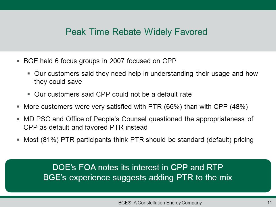 Peak Time Rebate Widely Favored