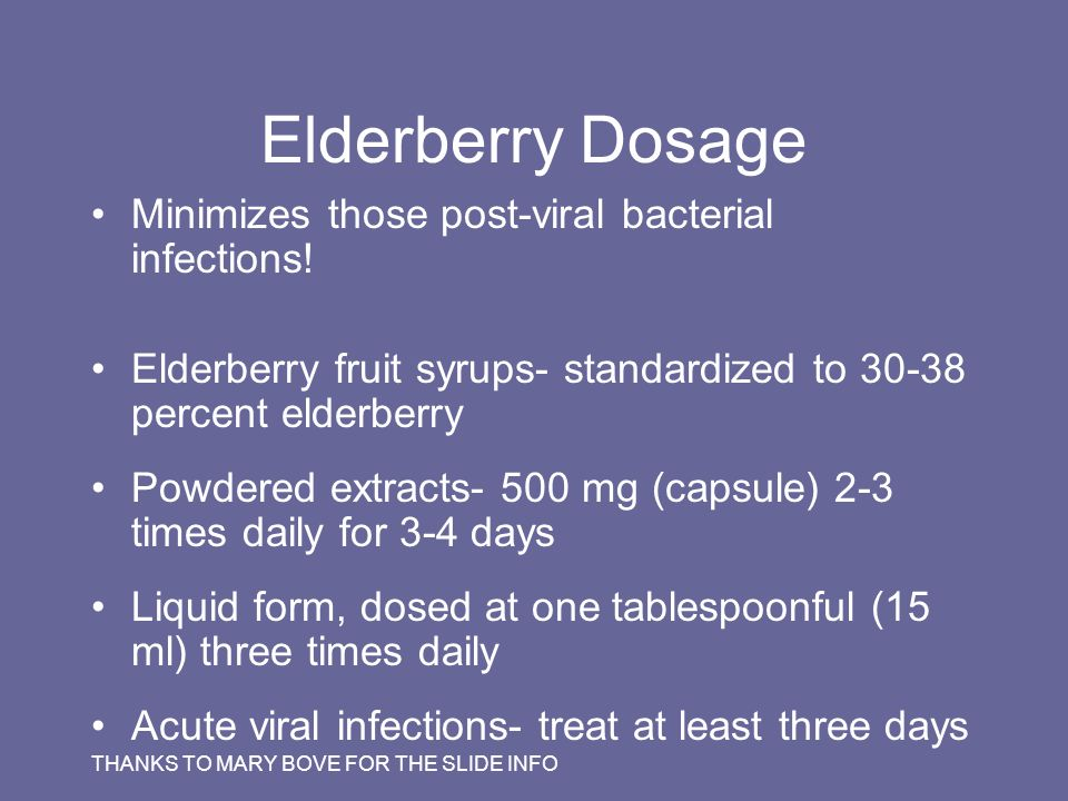 Elderberry Dosage Minimizes those post-viral bacterial infections!