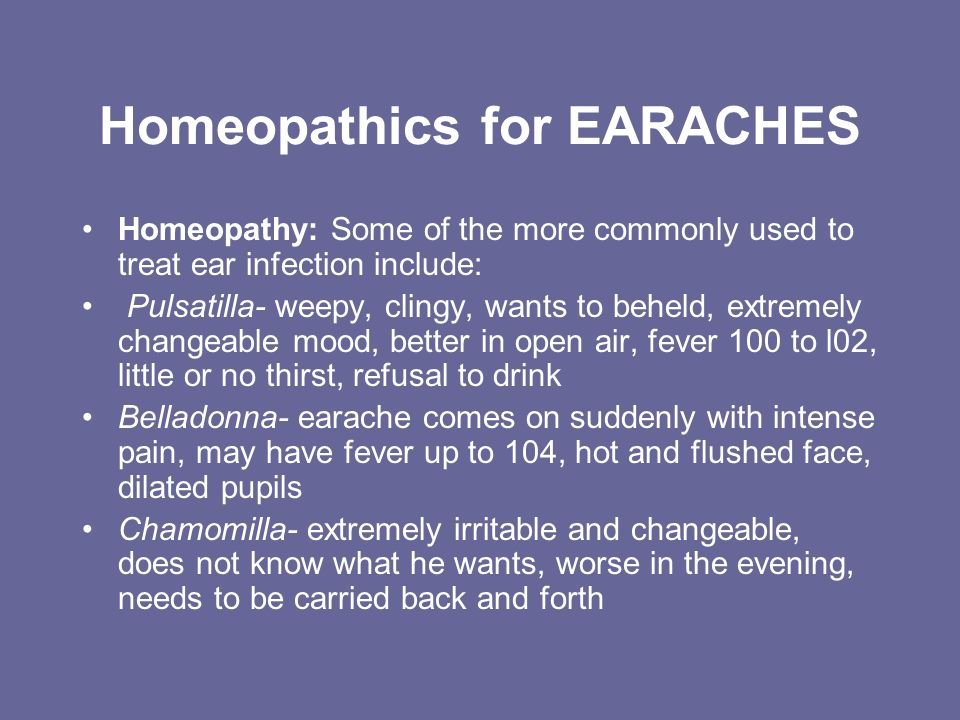 Homeopathics for EARACHES