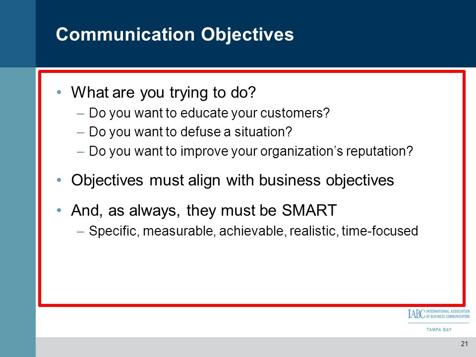 presentation tools to communicate business objectives Project management: tools & techniques  and financial resources and the objectives of the project will be  clearer communication becomes a tool for .