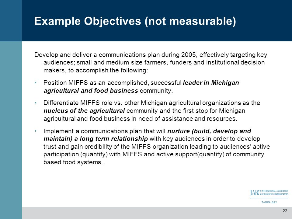 Example Objectives (not measurable)