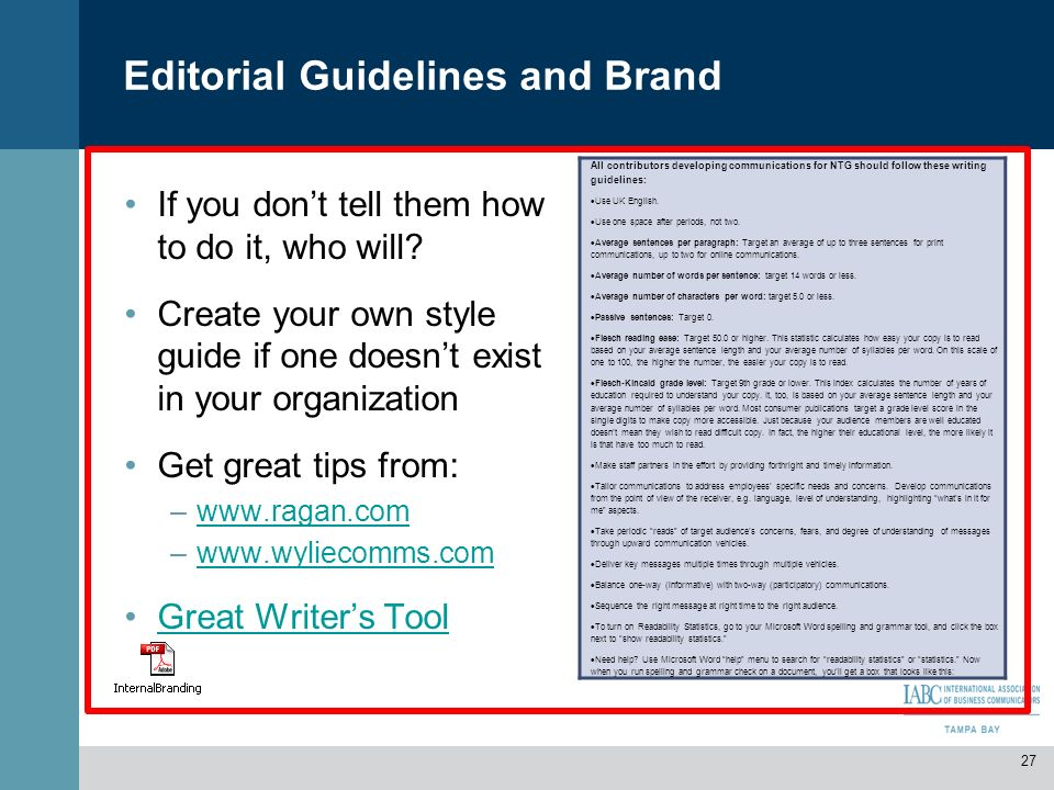 Editorial Guidelines and Brand