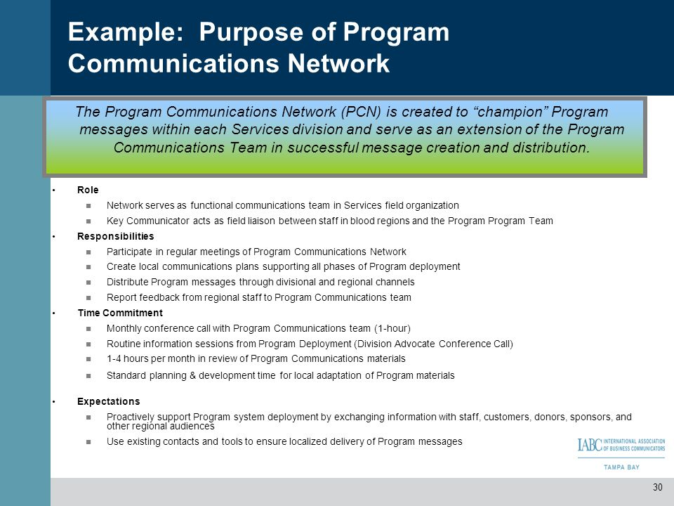 Example: Purpose of Program Communications Network