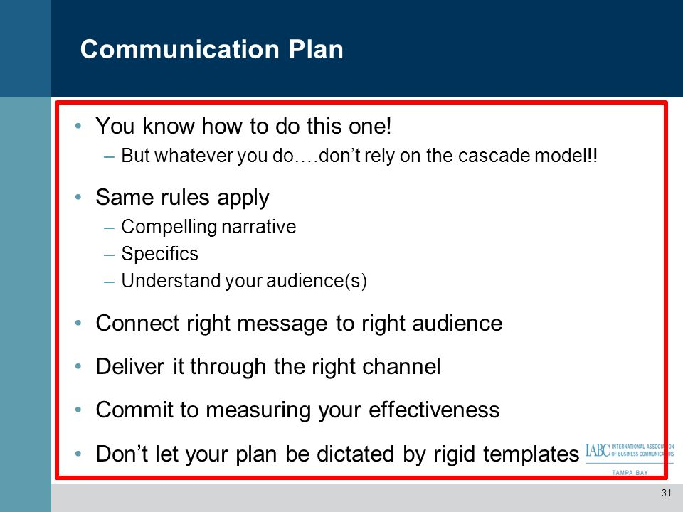 Communication Plan You know how to do this one! Same rules apply
