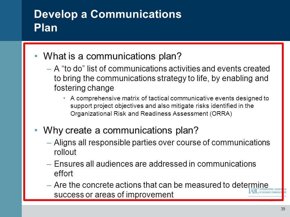 Develop a Communications Plan