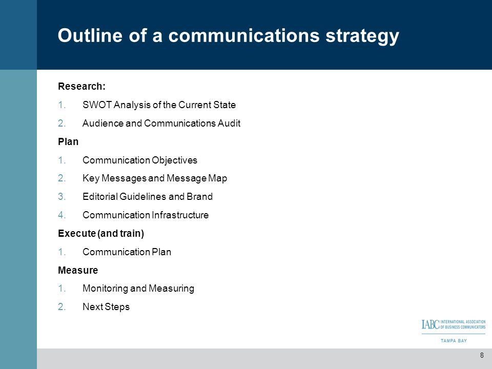 Outline of a communications strategy