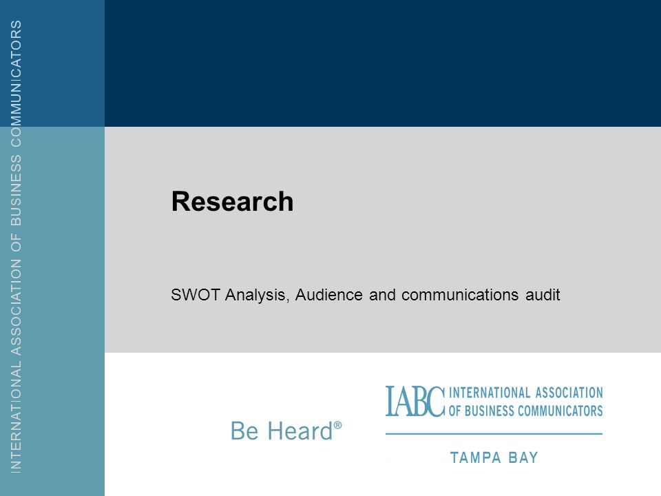 SWOT Analysis, Audience and communications audit