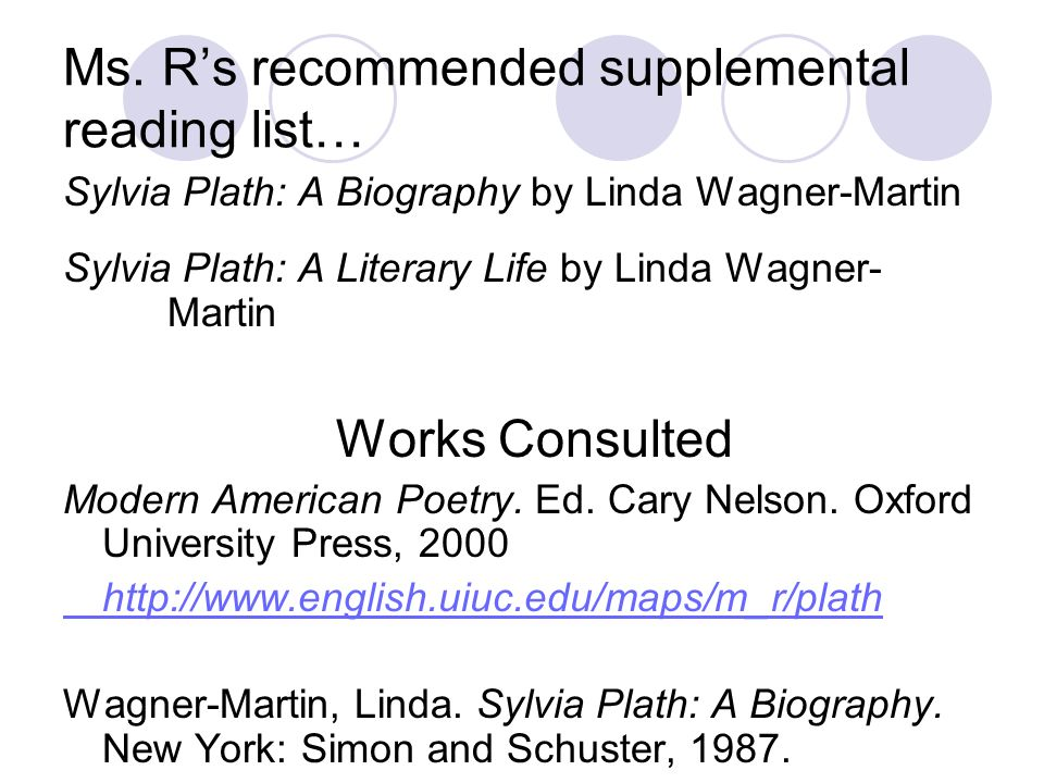 Ms. R's recommended supplemental reading list…