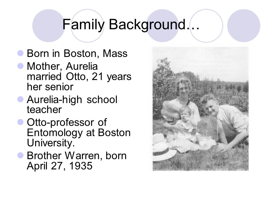 Family Background… Born in Boston, Mass