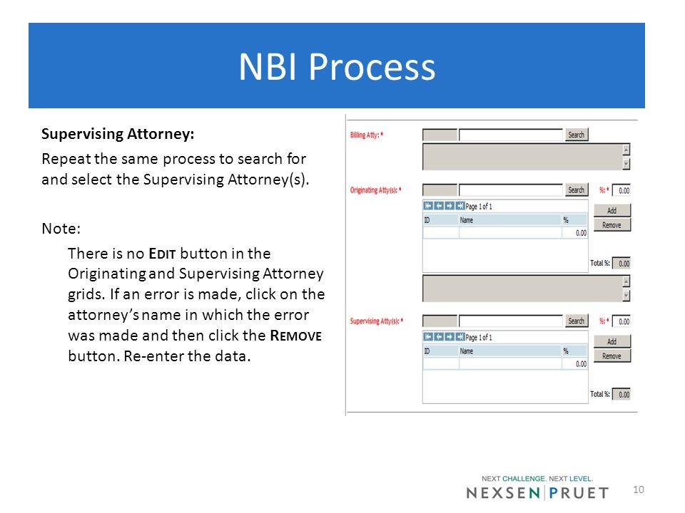 NBI Process Supervising Attorney: