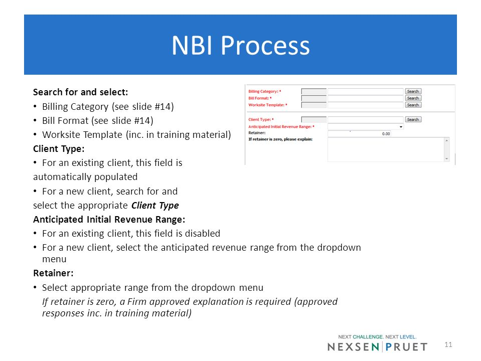 NBI Process Search for and select: Billing Category (see slide #14)