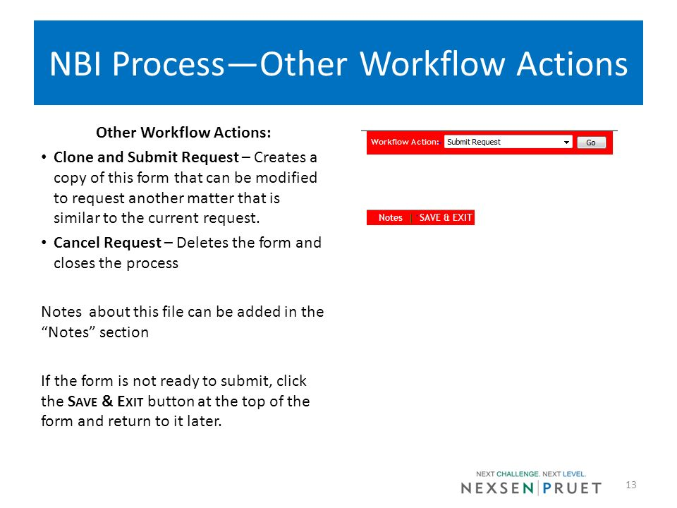 NBI Process—Other Workflow Actions