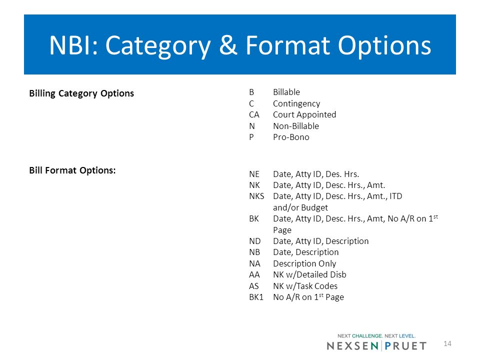 NBI: Category & Format Options