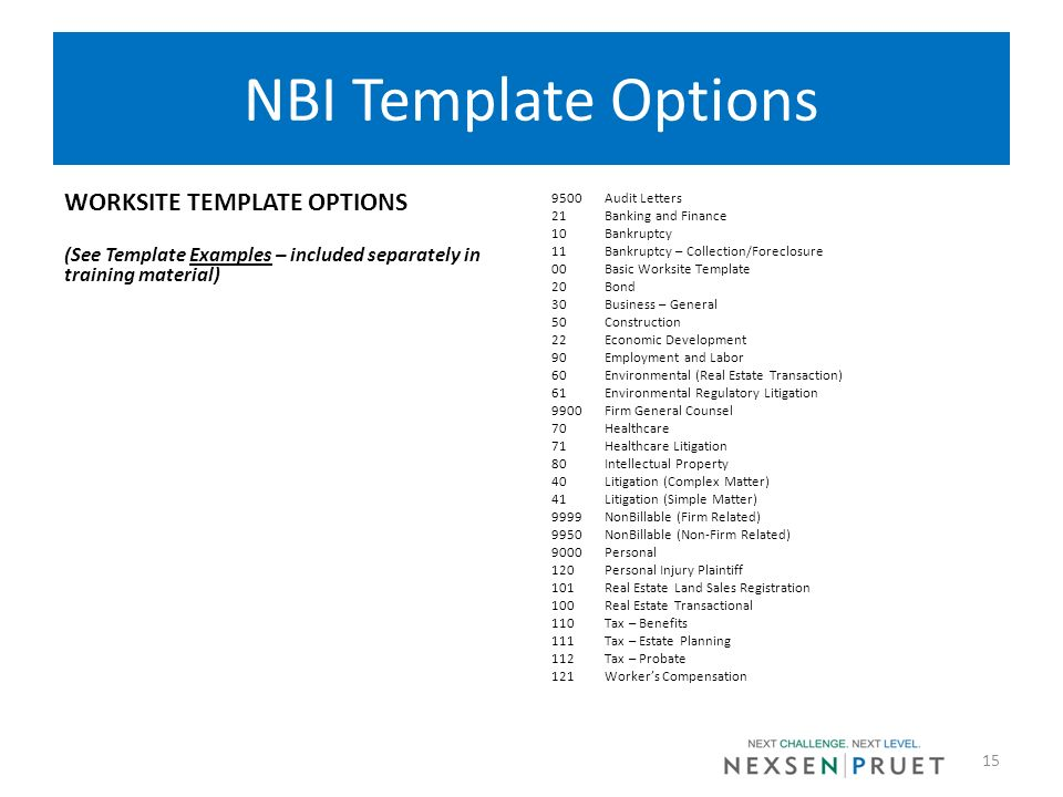 NBI Template Options WORKSITE TEMPLATE OPTIONS