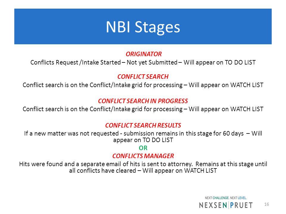 NBI Stages
