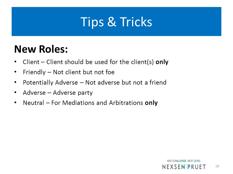 Tips & Tricks New Roles: