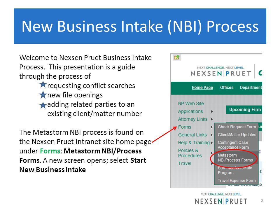New Business Intake (NBI) Process