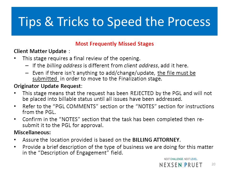 Tips & Tricks to Speed the Process